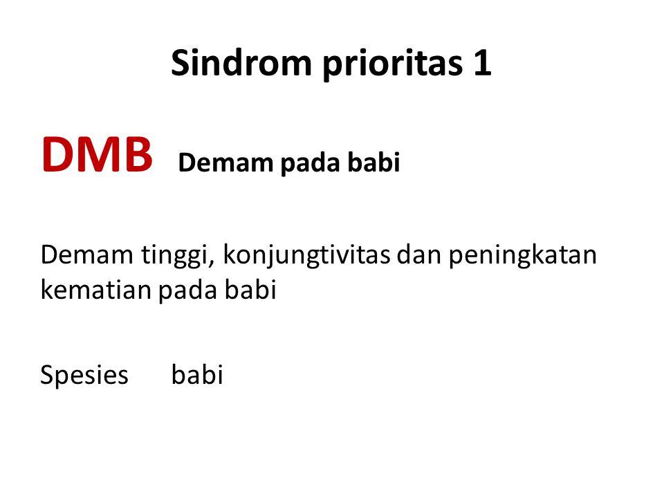 Sindrom prioritas 1 DMB Demam pada babi Demam tinggi, konjungtivitas dan peningkatan kematian pada babi Spesies babi