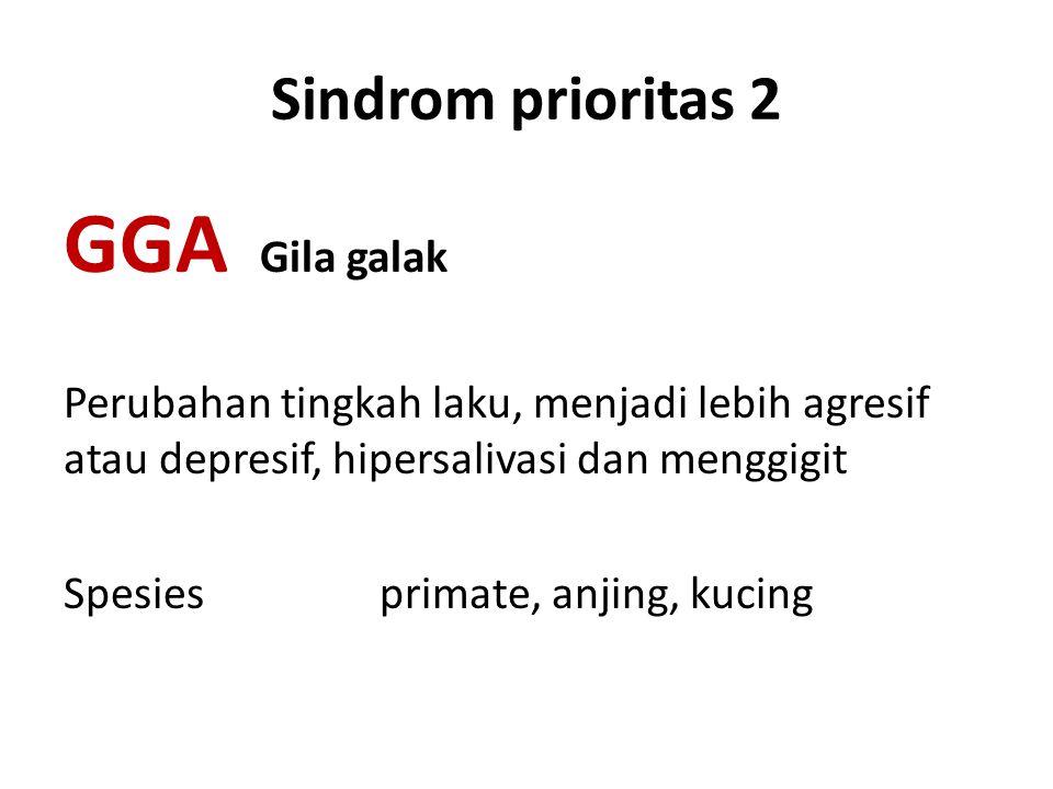 Sindrom prioritas 2 GGA Gila galak Perubahan tingkah laku, menjadi lebih agresif atau depresif, hipersalivasi dan menggigit Spesies primate, anjing, k