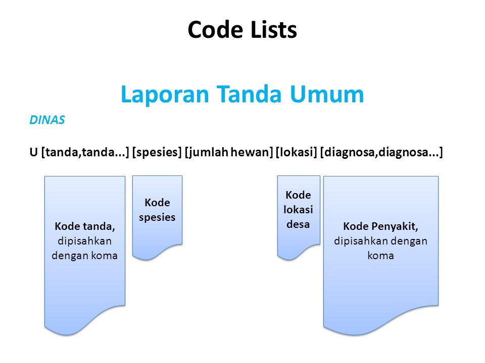 Code Lists Laporan Tanda Umum DINAS U [tanda,tanda...] [spesies] [jumlah hewan] [lokasi] [diagnosa,diagnosa...] Kode tanda, dipisahkan dengan koma Kod