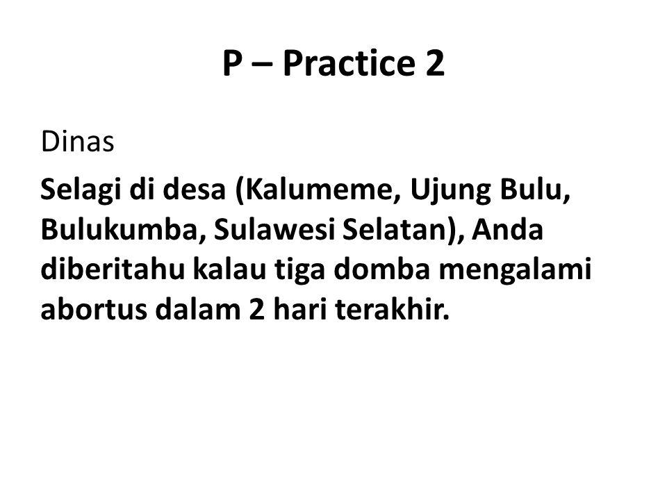 P – Practice 2 Dinas Selagi di desa (Kalumeme, Ujung Bulu, Bulukumba, Sulawesi Selatan), Anda diberitahu kalau tiga domba mengalami abortus dalam 2 ha