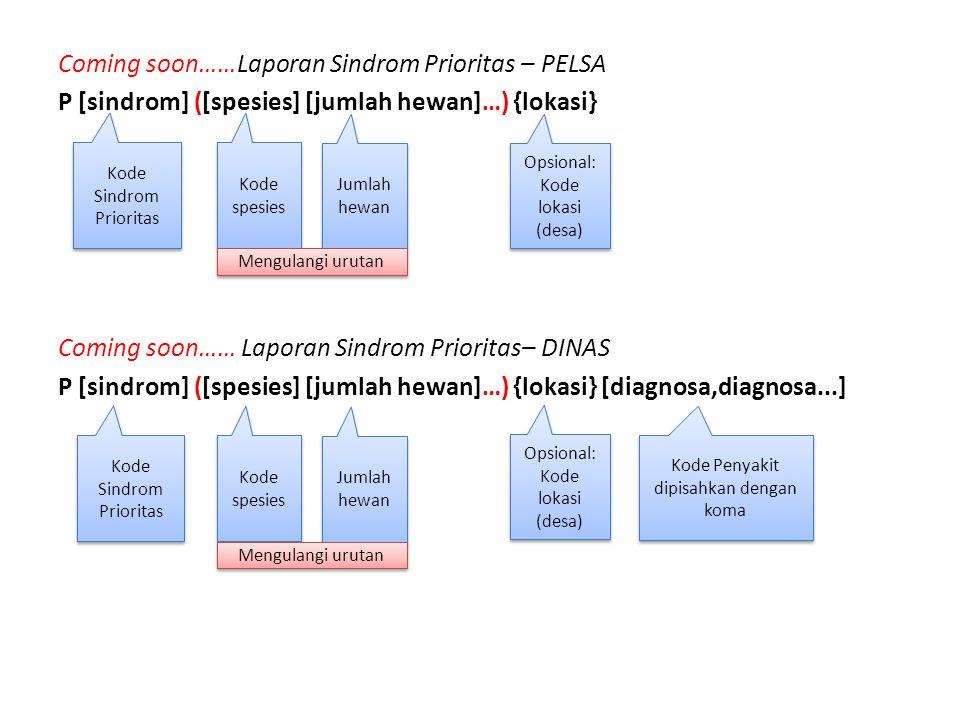 Coming soon……Laporan Sindrom Prioritas – PELSA P [sindrom] ([spesies] [jumlah hewan]…) {lokasi} Coming soon…… Laporan Sindrom Prioritas– DINAS P [sind