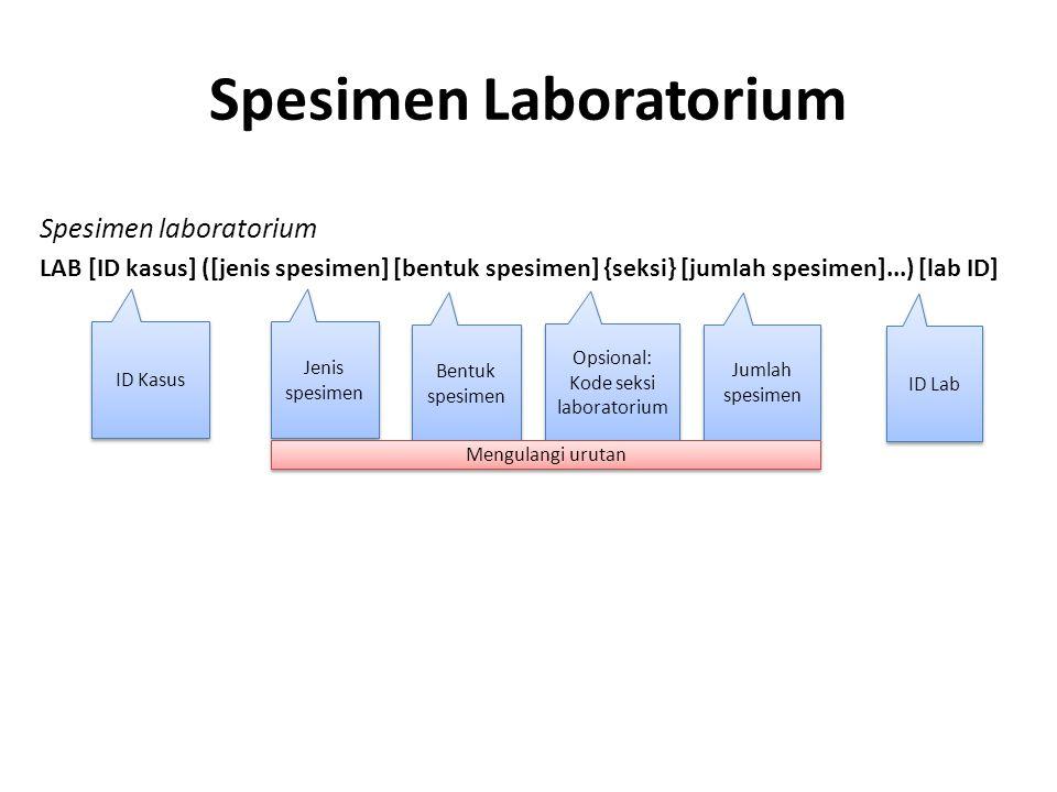 Spesimen Laboratorium Spesimen laboratorium LAB [ID kasus] ([jenis spesimen] [bentuk spesimen] {seksi} [jumlah spesimen]...) [lab ID] ID Kasus Opsiona