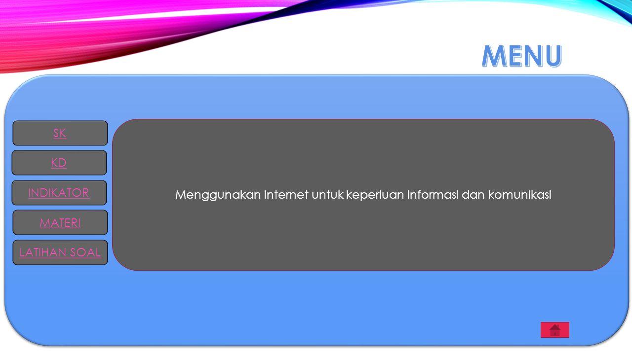 SK KD INDIKATOR MATERI LATIHAN SOAL Menggunakan internet untuk keperluan informasi dan komunikasi