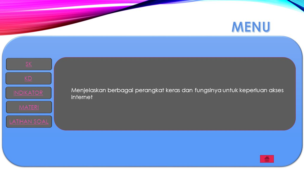 Menjelaskan berbagai perangkat keras dan fungsinya untuk keperluan akses internet SK KD INDIKATOR MATERI LATIHAN SOAL