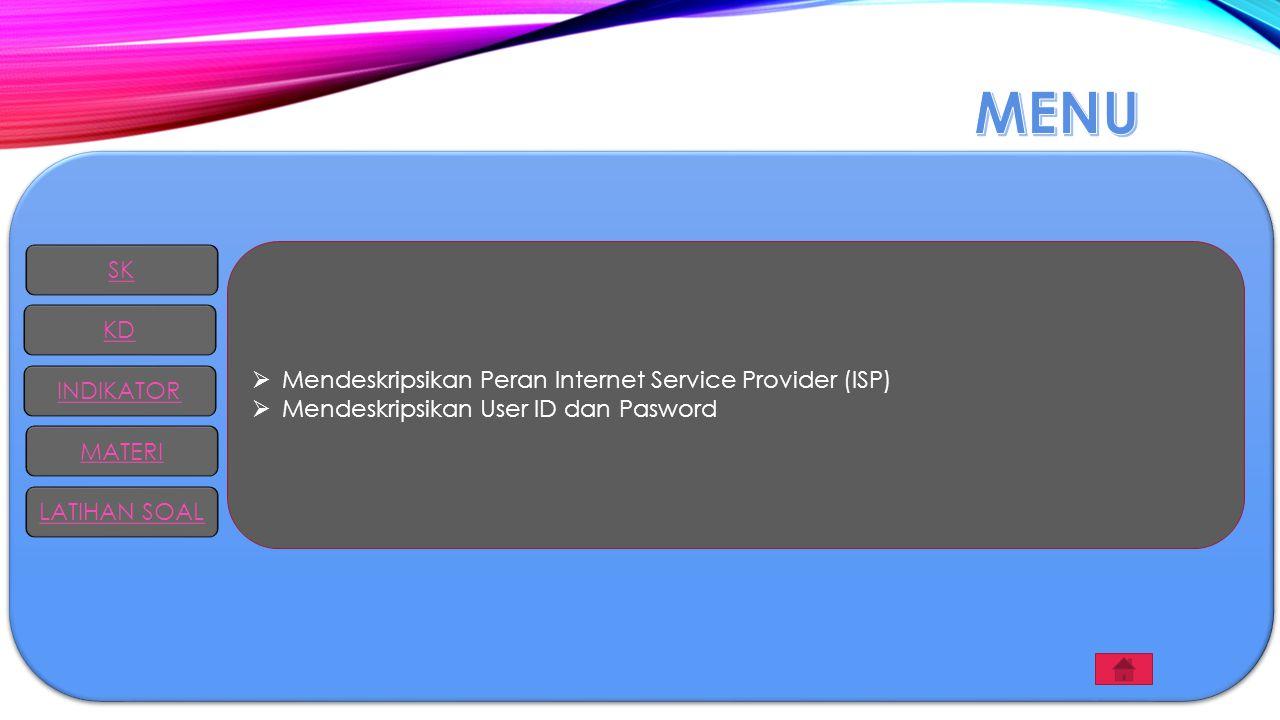  Mendeskripsikan Peran Internet Service Provider (ISP)  Mendeskripsikan User ID dan Pasword SK KD INDIKATOR MATERI LATIHAN SOAL