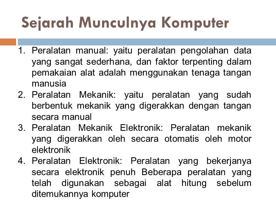 Sejarah Munculnya Komputer 1.Peralatan manual: yaitu peralatan pengolahan data yang sangat sederhana, dan faktor terpenting dalam pemakaian alat adala
