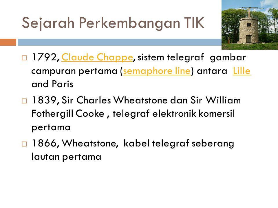 Sejarah Perkembangan TIK  1792, Claude Chappe, sistem telegraf gambar campuran pertama (semaphore line) antara Lille and ParisClaude Chappesemaphore
