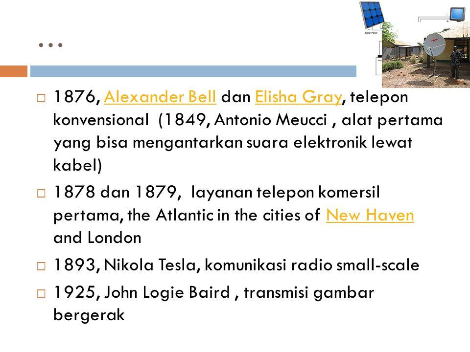 …  1876, Alexander Bell dan Elisha Gray, telepon konvensional (1849, Antonio Meucci, alat pertama yang bisa mengantarkan suara elektronik lewat kabel