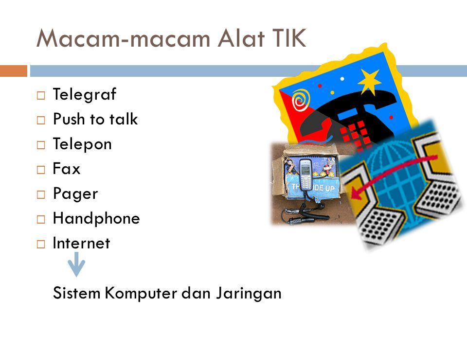 Macam-macam Alat TIK  Telegraf  Push to talk  Telepon  Fax  Pager  Handphone  Internet Sistem Komputer dan Jaringan