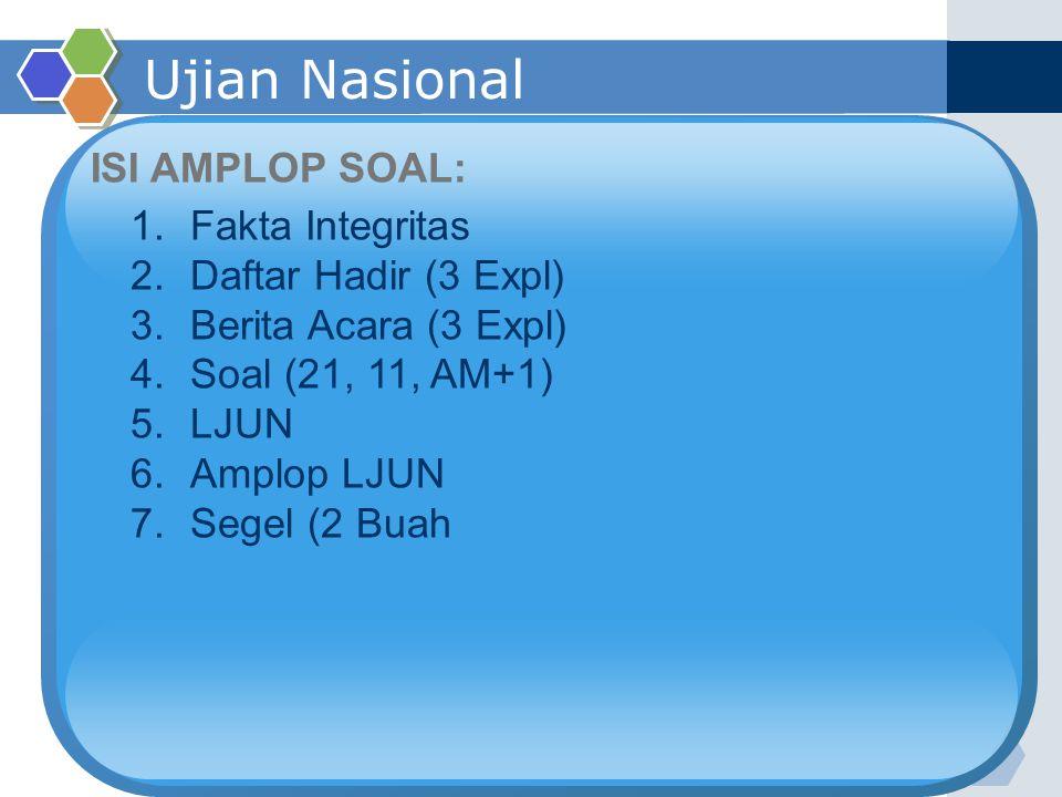 Ujian Nasional ISI AMPLOP SOAL: 1.Fakta Integritas 2.Daftar Hadir (3 Expl) 3.Berita Acara (3 Expl) 4.Soal (21, 11, AM+1) 5.LJUN 6.Amplop LJUN 7.Segel