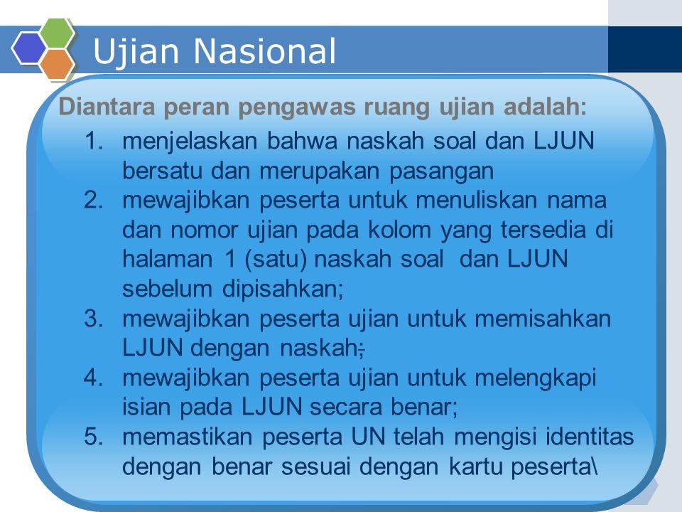 Ujian Nasional Diantara peran pengawas ruang ujian adalah: 1.menjelaskan bahwa naskah soal dan LJUN bersatu dan merupakan pasangan 2.mewajibkan pesert