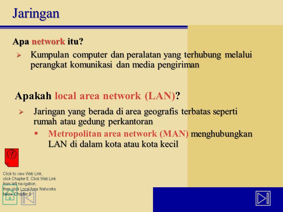 Jaringan Apa network itu?  Kumpulan computer dan peralatan yang terhubung melalui perangkat komunikasi dan media pengiriman Apakah local area network