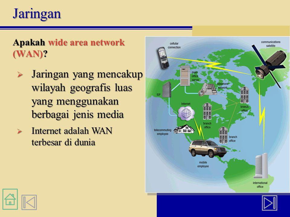 Jaringan Apakah wide area network (WAN)?  Jaringan yang mencakup wilayah geografis luas yang menggunakan berbagai jenis media  Internet adalah WAN t