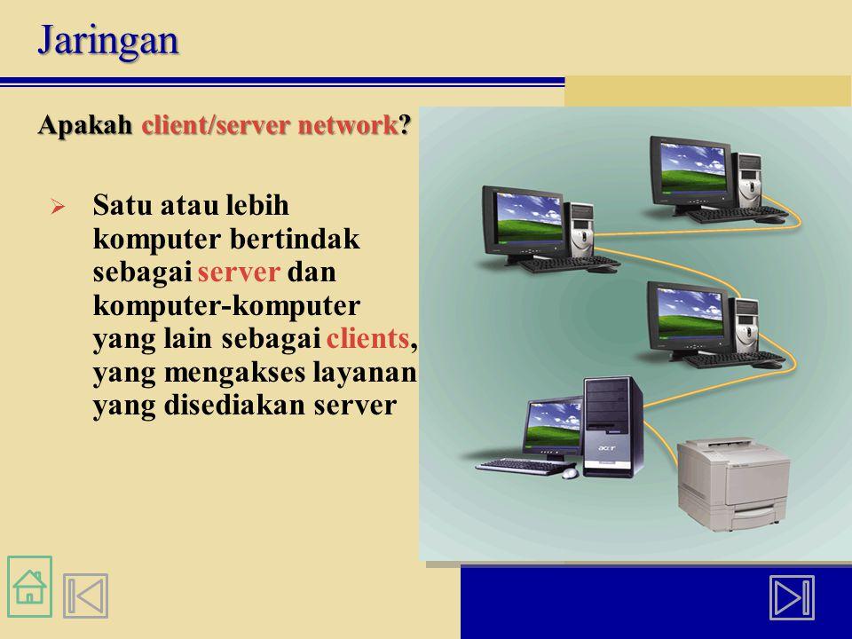 Jaringan Apakah client/server network?  Satu atau lebih komputer bertindak sebagai server dan komputer-komputer yang lain sebagai clients, yang menga