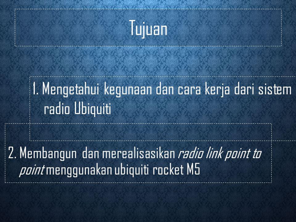Tujuan 1.Mengetahui kegunaan dan cara kerja dari sistem radio Ubiquiti 2.