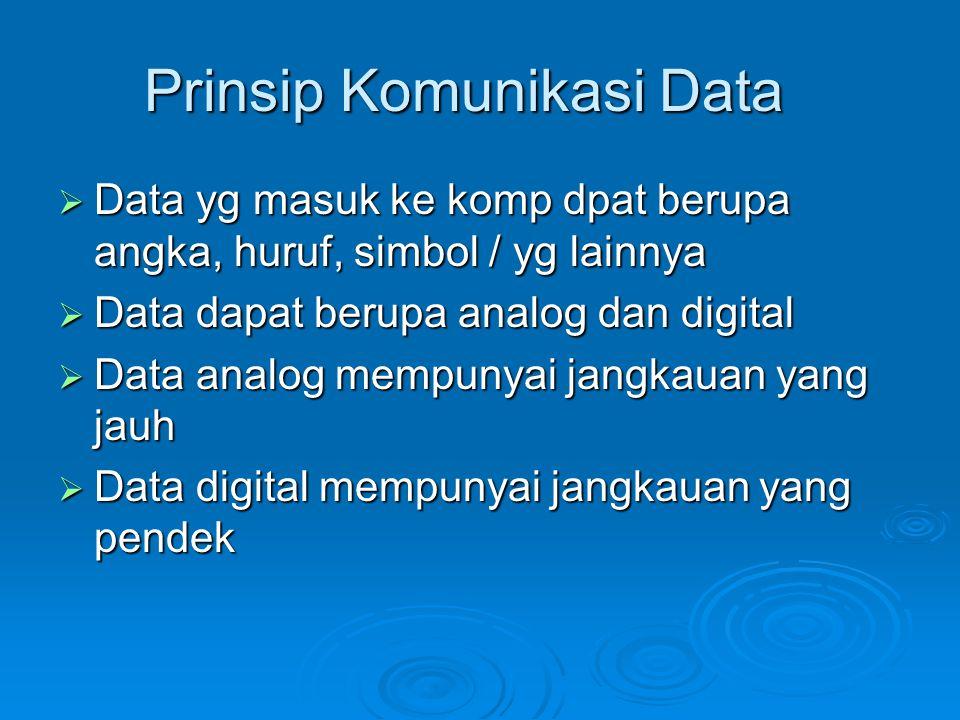 Prinsip Komunikasi Data  Data yg masuk ke komp dpat berupa angka, huruf, simbol / yg lainnya  Data dapat berupa analog dan digital  Data analog mem