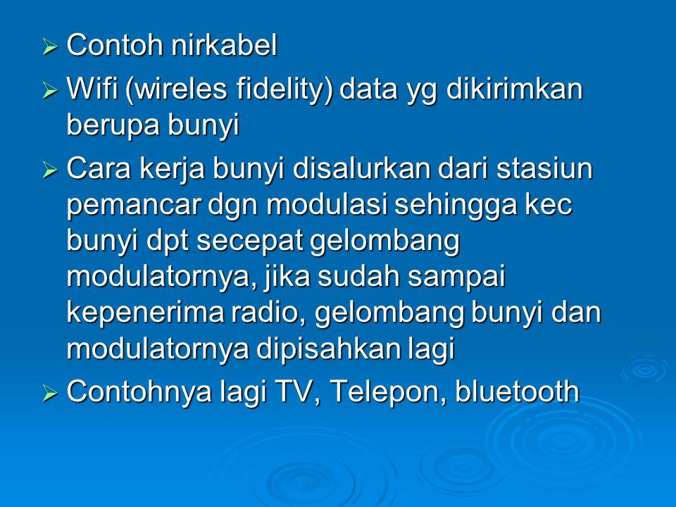  Contoh nirkabel  Wifi (wireles fidelity) data yg dikirimkan berupa bunyi  Cara kerja bunyi disalurkan dari stasiun pemancar dgn modulasi sehingga