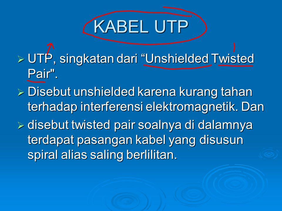 """KABEL UTP  UTP, singkatan dari """"Unshielded Twisted Pair"""