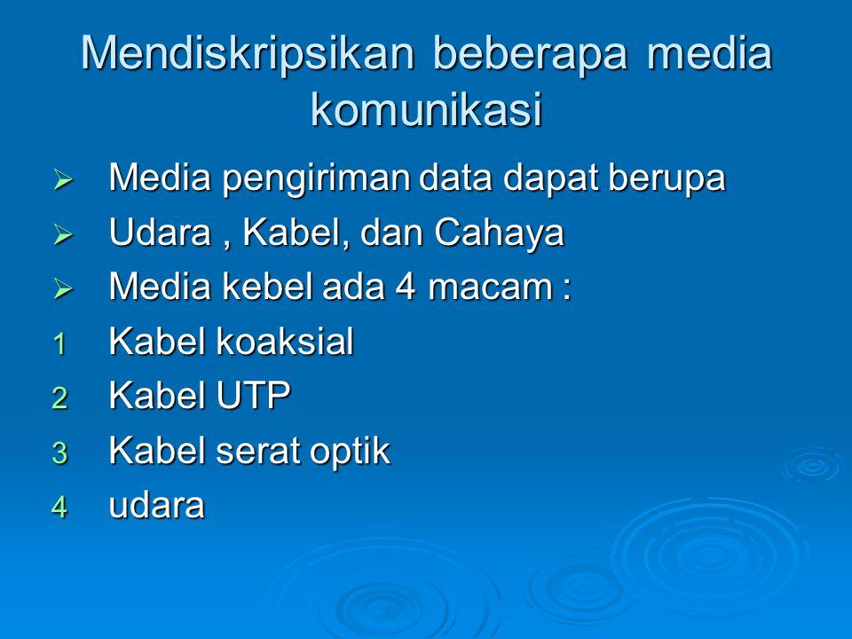 Mendiskripsikan beberapa media komunikasi  Media pengiriman data dapat berupa  Udara, Kabel, dan Cahaya  Media kebel ada 4 macam : 1 Kabel koaksial