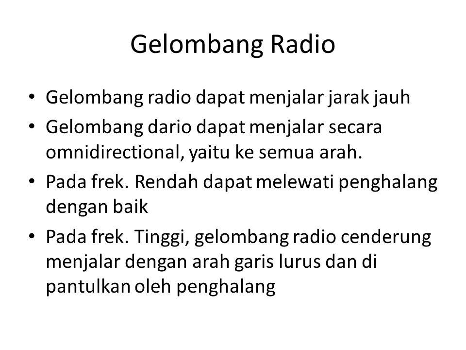 Gelombang Radio • Gelombang radio dapat menjalar jarak jauh • Gelombang dario dapat menjalar secara omnidirectional, yaitu ke semua arah. • Pada frek.