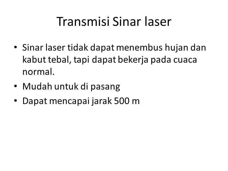 Transmisi Sinar laser • Sinar laser tidak dapat menembus hujan dan kabut tebal, tapi dapat bekerja pada cuaca normal. • Mudah untuk di pasang • Dapat