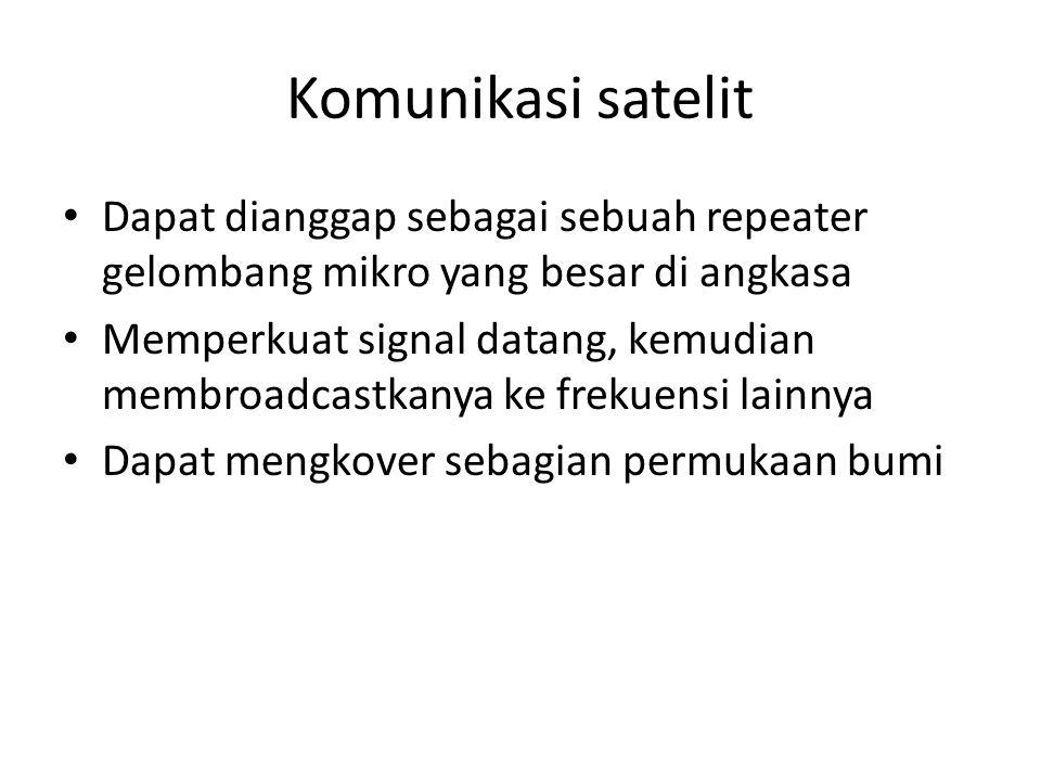 Komunikasi satelit • Dapat dianggap sebagai sebuah repeater gelombang mikro yang besar di angkasa • Memperkuat signal datang, kemudian membroadcastkan