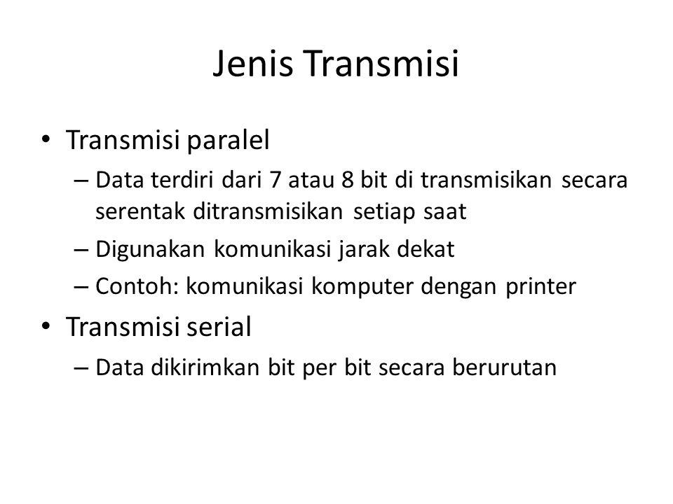 Jenis Transmisi • Transmisi paralel – Data terdiri dari 7 atau 8 bit di transmisikan secara serentak ditransmisikan setiap saat – Digunakan komunikasi