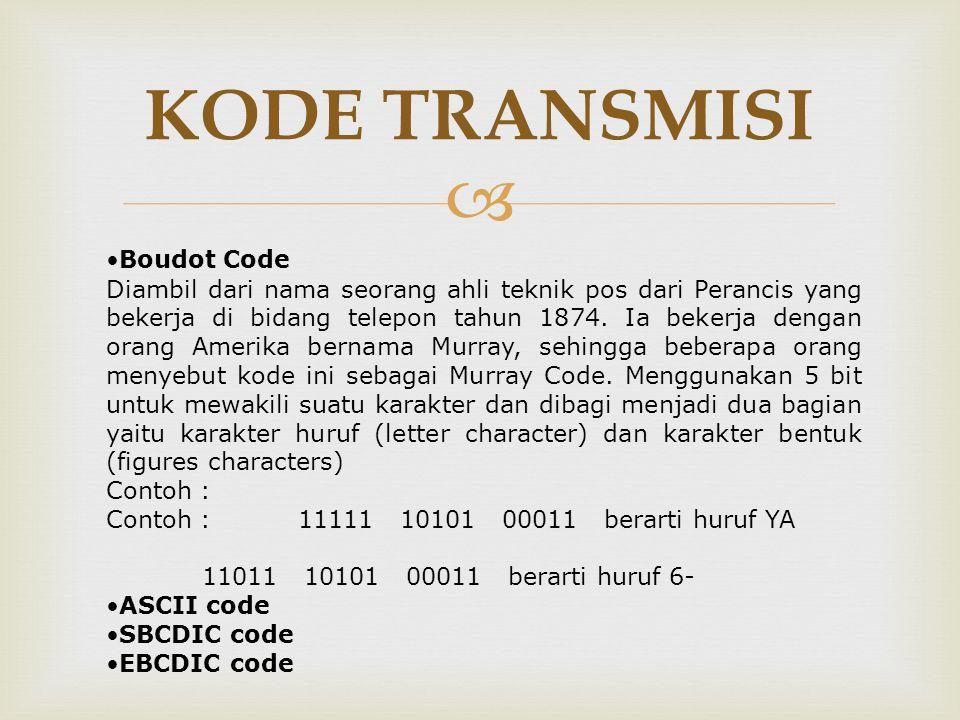  KODE TRANSMISI •Boudot Code Diambil dari nama seorang ahli teknik pos dari Perancis yang bekerja di bidang telepon tahun 1874. Ia bekerja dengan ora