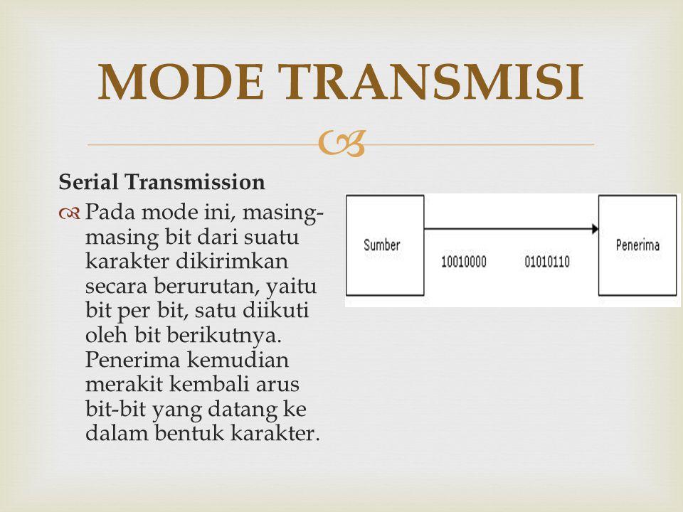  MODE TRANSMISI Serial Transmission  Pada mode ini, masing- masing bit dari suatu karakter dikirimkan secara berurutan, yaitu bit per bit, satu diik