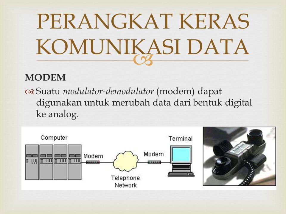  MODEM  Suatu modulator-demodulator (modem) dapat digunakan untuk merubah data dari bentuk digital ke analog. PERANGKAT KERAS KOMUNIKASI DATA