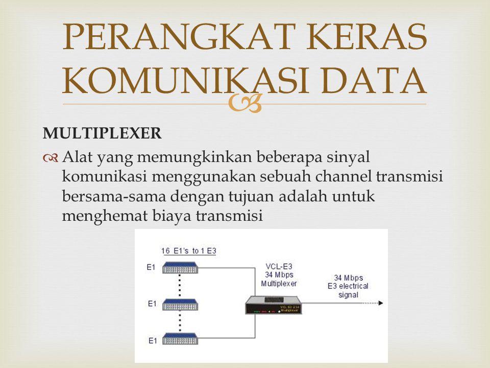  MULTIPLEXER  Alat yang memungkinkan beberapa sinyal komunikasi menggunakan sebuah channel transmisi bersama-sama dengan tujuan adalah untuk menghem