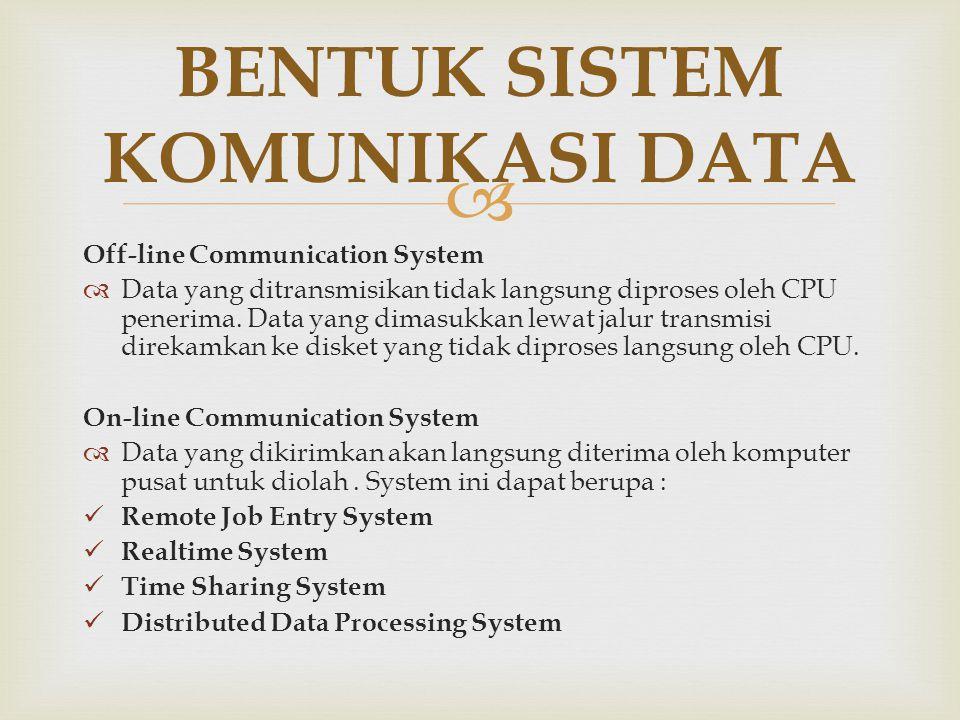  Off-line Communication System  Data yang ditransmisikan tidak langsung diproses oleh CPU penerima. Data yang dimasukkan lewat jalur transmisi direk