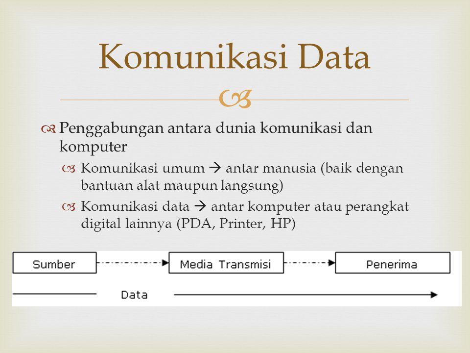   Penggabungan antara dunia komunikasi dan komputer  Komunikasi umum  antar manusia (baik dengan bantuan alat maupun langsung)  Komunikasi data 