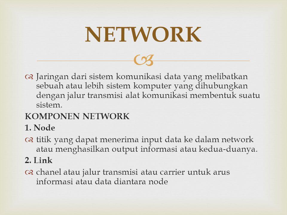   Jaringan dari sistem komunikasi data yang melibatkan sebuah atau lebih sistem komputer yang dihubungkan dengan jalur transmisi alat komunikasi mem