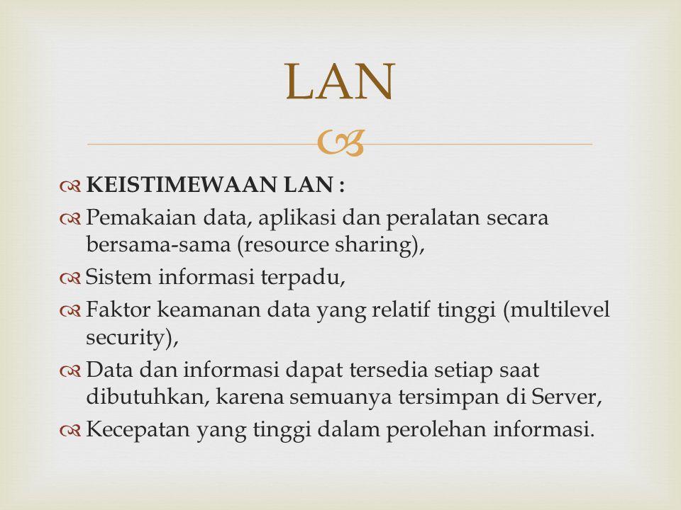   KEISTIMEWAAN LAN :  Pemakaian data, aplikasi dan peralatan secara bersama-sama (resource sharing),  Sistem informasi terpadu,  Faktor keamanan
