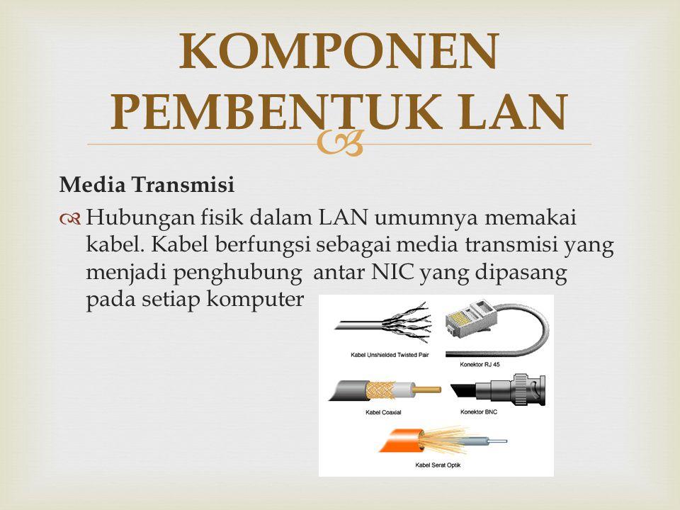  Media Transmisi  Hubungan fisik dalam LAN umumnya memakai kabel. Kabel berfungsi sebagai media transmisi yang menjadi penghubung antar NIC yang dip
