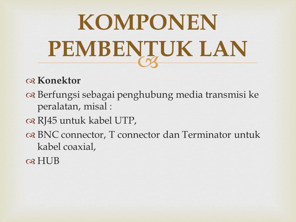   Konektor  Berfungsi sebagai penghubung media transmisi ke peralatan, misal :  RJ45 untuk kabel UTP,  BNC connector, T connector dan Terminator