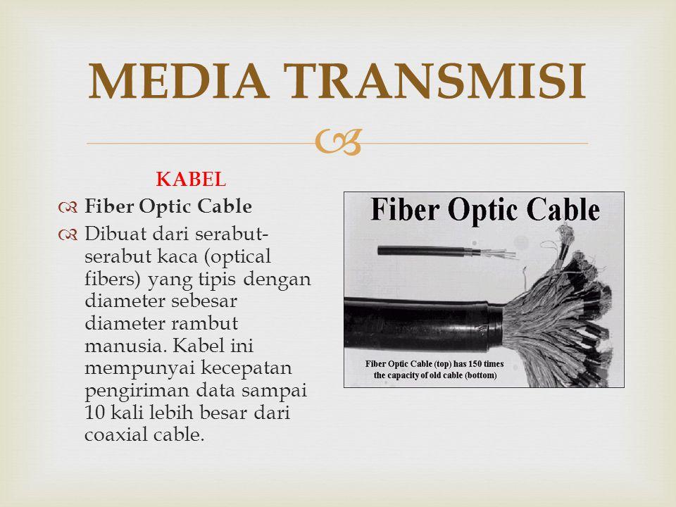  MEDIA TRANSMISI KABEL  Fiber Optic Cable  Dibuat dari serabut- serabut kaca (optical fibers) yang tipis dengan diameter sebesar diameter rambut ma