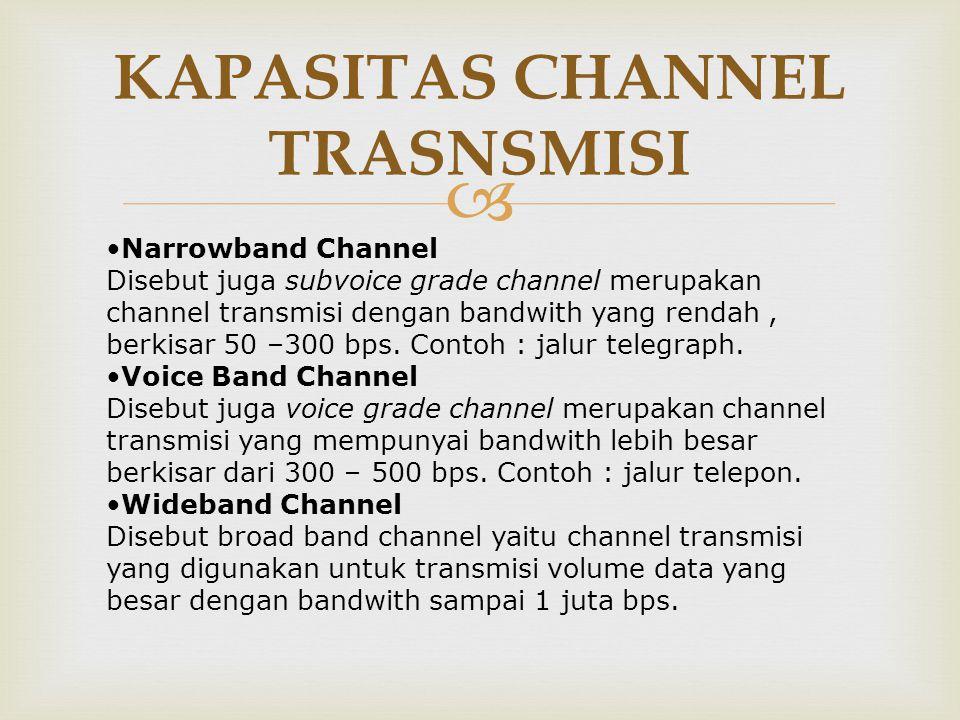  KAPASITAS CHANNEL TRASNSMISI •Narrowband Channel Disebut juga subvoice grade channel merupakan channel transmisi dengan bandwith yang rendah, berkis