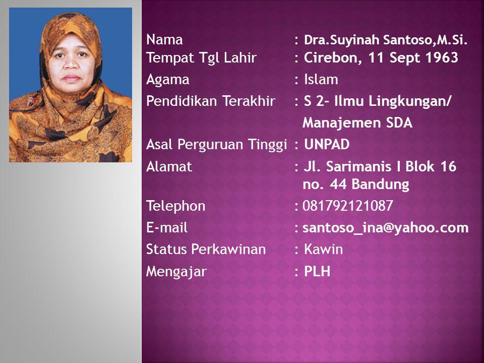 Nama: Dra.Suyinah Santoso,M.Si. Tempat Tgl Lahir: Cirebon, 11 Sept 1963 Agama: Islam Pendidikan Terakhir: S 2- Ilmu Lingkungan/ Manajemen SDA Asal Per