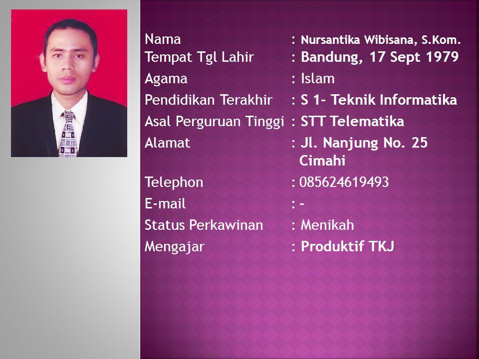 Nama: Nursantika Wibisana, S.Kom. Tempat Tgl Lahir: Bandung, 17 Sept 1979 Agama: Islam Pendidikan Terakhir: S 1- Teknik Informatika Asal Perguruan Tin