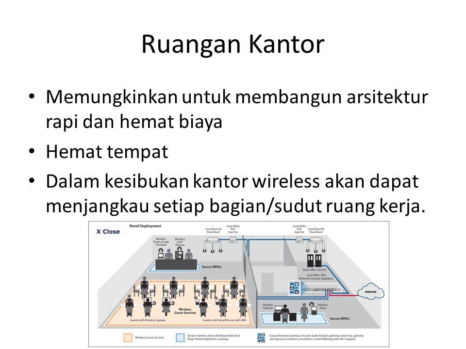 Ruangan Kantor • Memungkinkan untuk membangun arsitektur rapi dan hemat biaya • Hemat tempat • Dalam kesibukan kantor wireless akan dapat menjangkau s