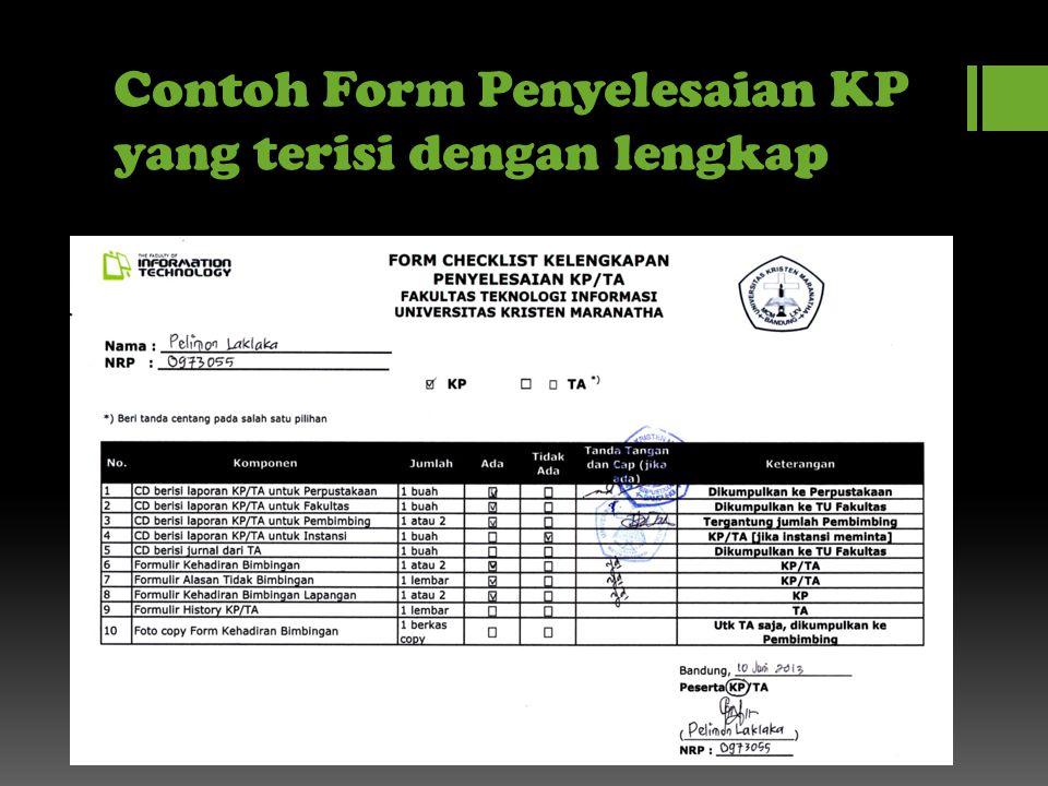 Contoh Form Penyelesaian KP yang terisi dengan lengkap
