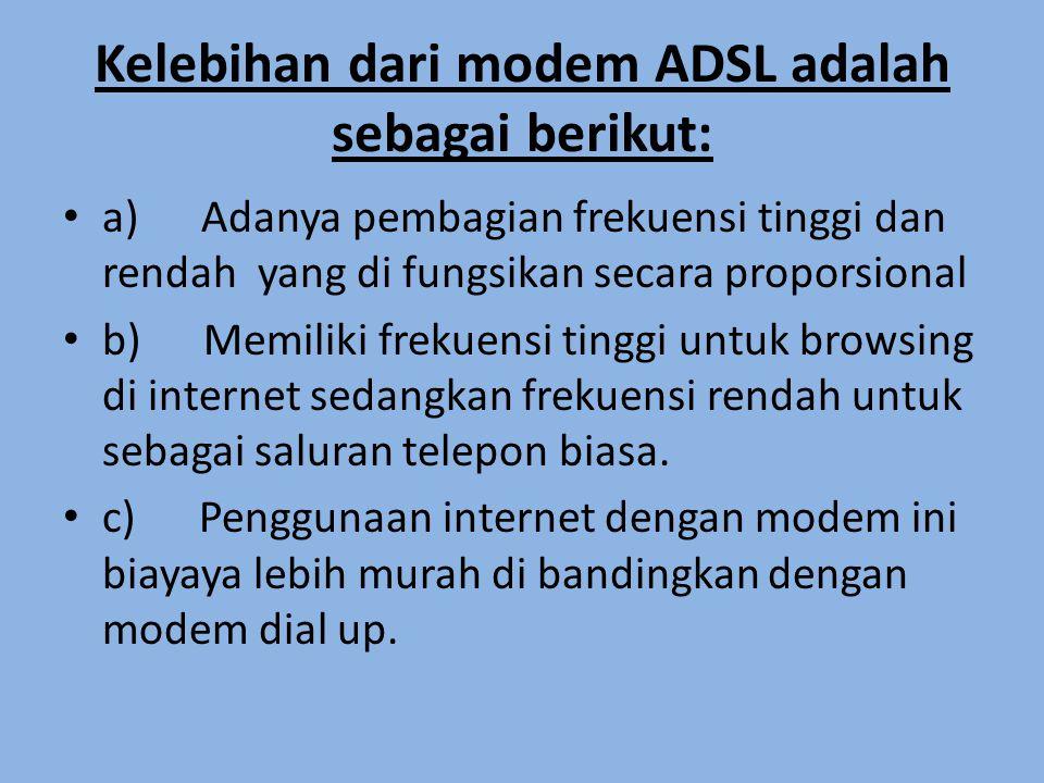 Kelemahan modem ADSL adalah sebagai berikut: • a) Dipengaruhi oleh jarak pada kecepatan pengiriman data.