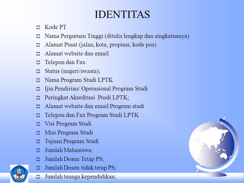 IDENTITAS  Kode PT  Nama Perguruan Tinggi (ditulis lengkap dan singkatannya)  Alamat Pusat (jalan, kota, propinsi, kode pos)  Alamat website dan e