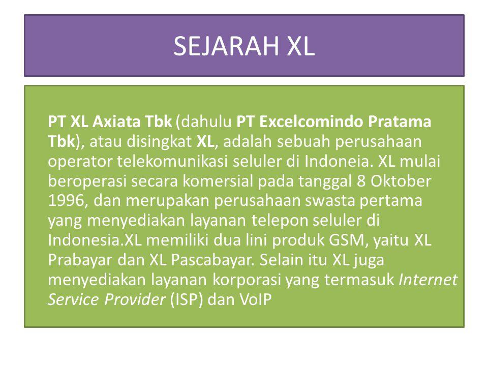SEJARAH XL PT XL Axiata Tbk (dahulu PT Excelcomindo Pratama Tbk), atau disingkat XL, adalah sebuah perusahaan operator telekomunikasi seluler di Indon