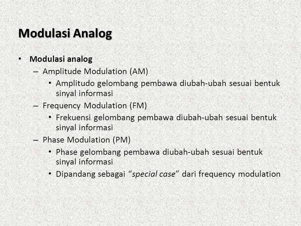 Modulasi Analog • Modulasi analog – Amplitude Modulation (AM) • Amplitudo gelombang pembawa diubah-ubah sesuai bentuk sinyal informasi – Frequency Mod