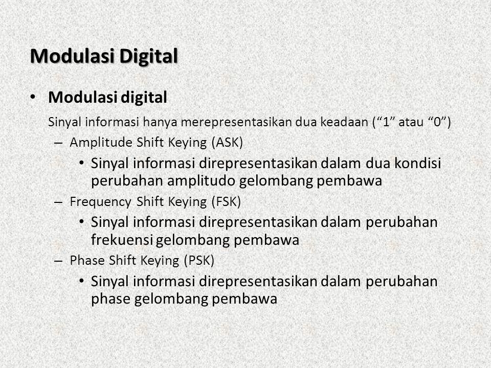 """Modulasi Digital • Modulasi digital Sinyal informasi hanya merepresentasikan dua keadaan (""""1"""" atau """"0"""") – Amplitude Shift Keying (ASK) • Sinyal inform"""