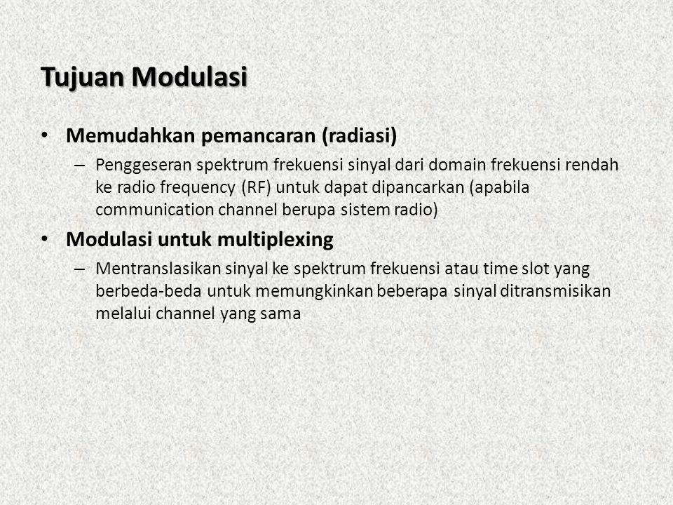 Tujuan Modulasi • Memudahkan pemancaran (radiasi) – Penggeseran spektrum frekuensi sinyal dari domain frekuensi rendah ke radio frequency (RF) untuk d