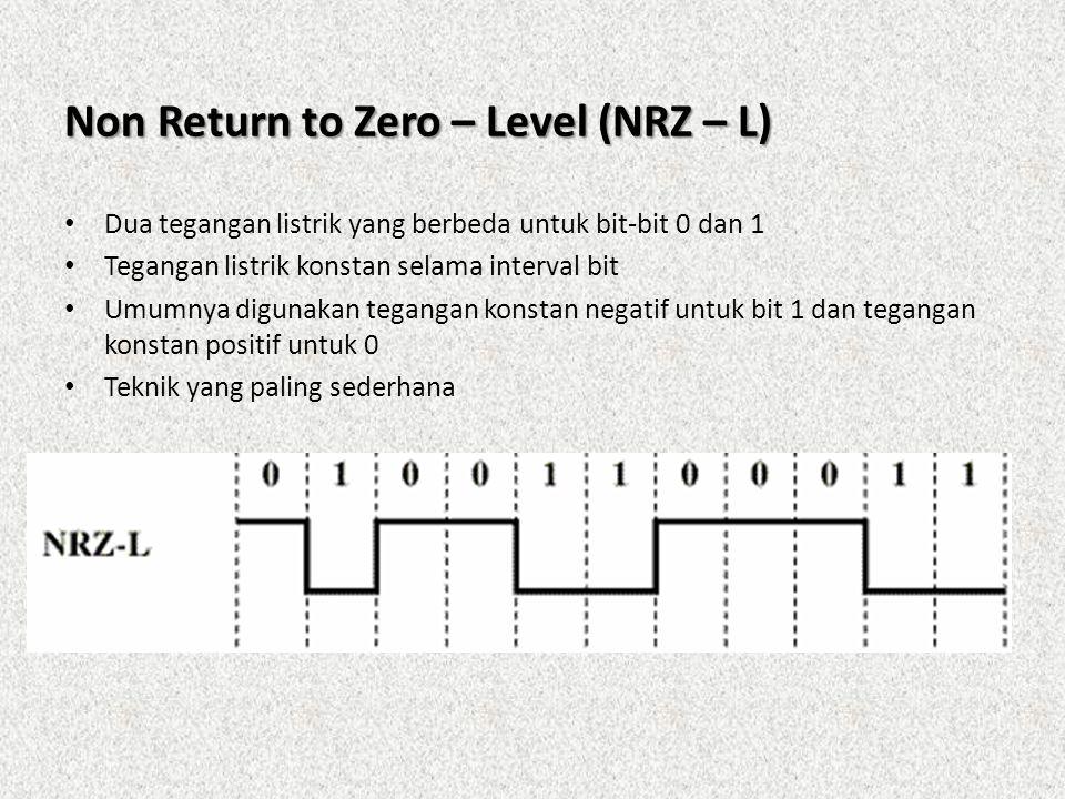 Non Return to Zero – Level (NRZ – L) • Dua tegangan listrik yang berbeda untuk bit-bit 0 dan 1 • Tegangan listrik konstan selama interval bit • Umumny